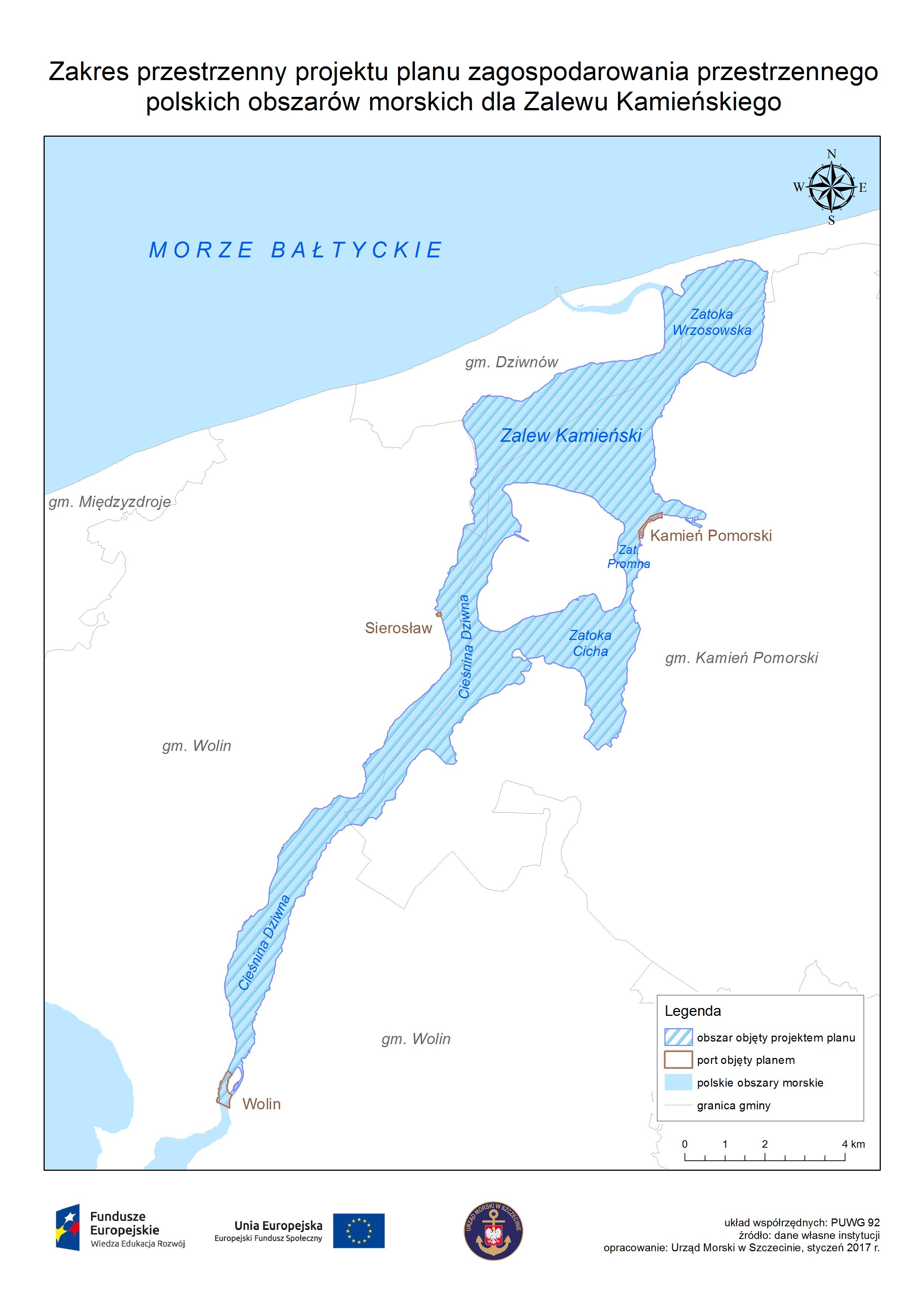 Mapa obrazująca obszar projektu planu - Zalew Kamieński