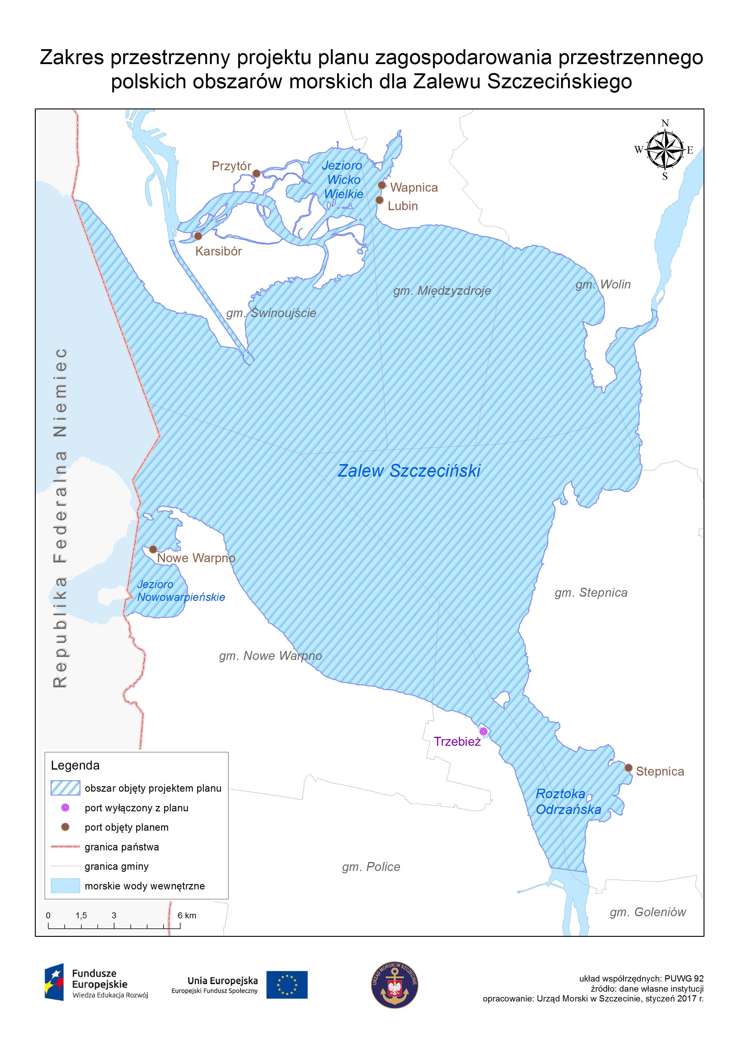 Mapa obrazująca obszar projektu planu - Zalew Szczeciński